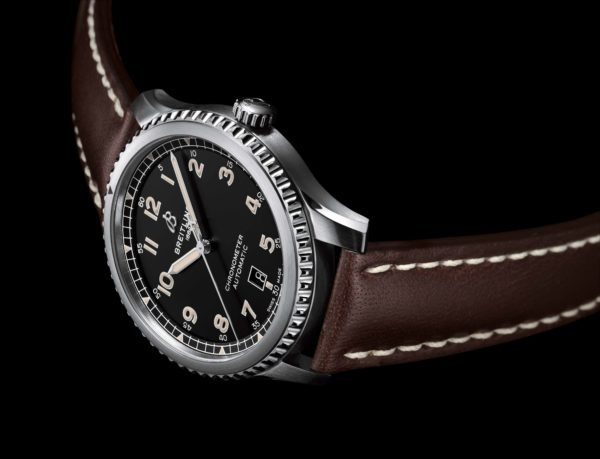 Navitimer Aviator 8 Automatic 41 SWISS Limited Edition with black dial and brown leather strap