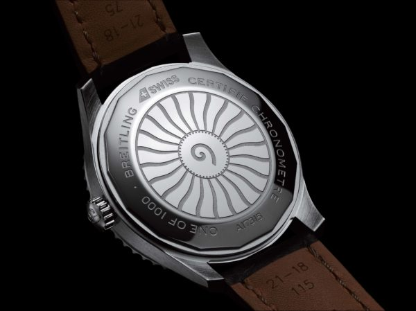 Caseback of the Navitimer Aviator 8 Automatic 41 SWISS Limited Edition