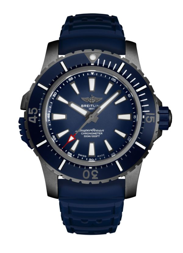 Superocean-48-in-black-titanium-with-blue-dial-and-blue-vented-rubber-strap