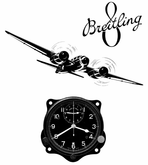 Breitling 1941 advertisement for the Huit Aviation Department.