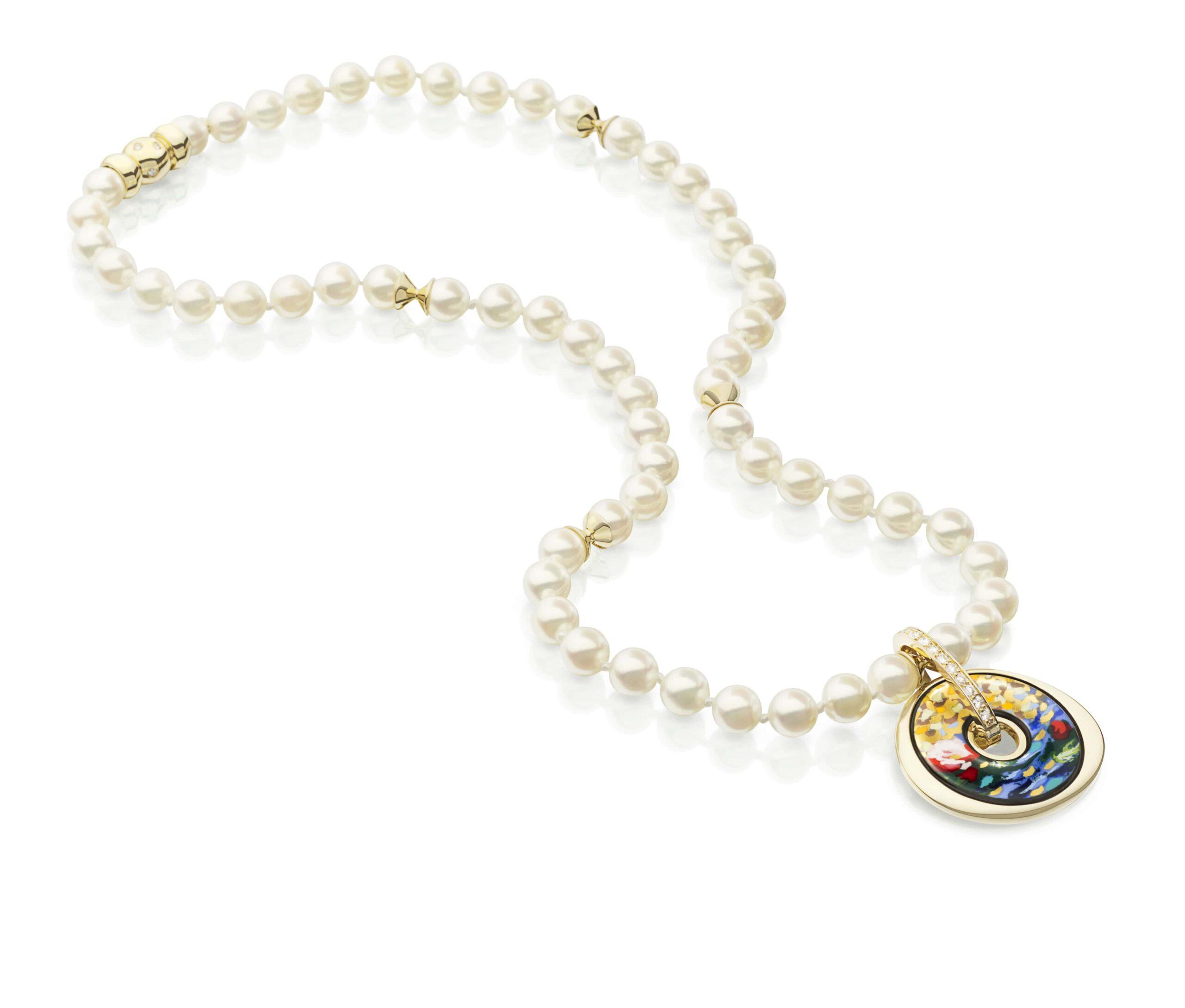 18ktgolddiamonds privjesak Luna Piccolissima biserna ogrlica 2 min