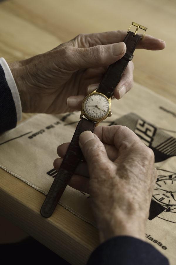 1954 Oris Big Crown Pointer Date in hands of Dr. Rolf Portmann