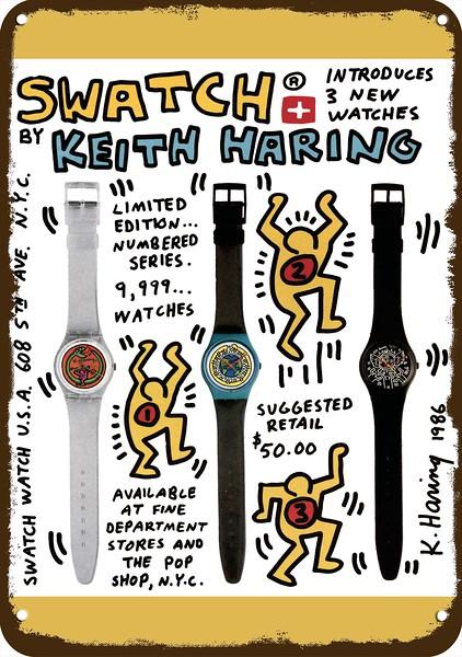 1986 swatch watch keith haring art list12 L