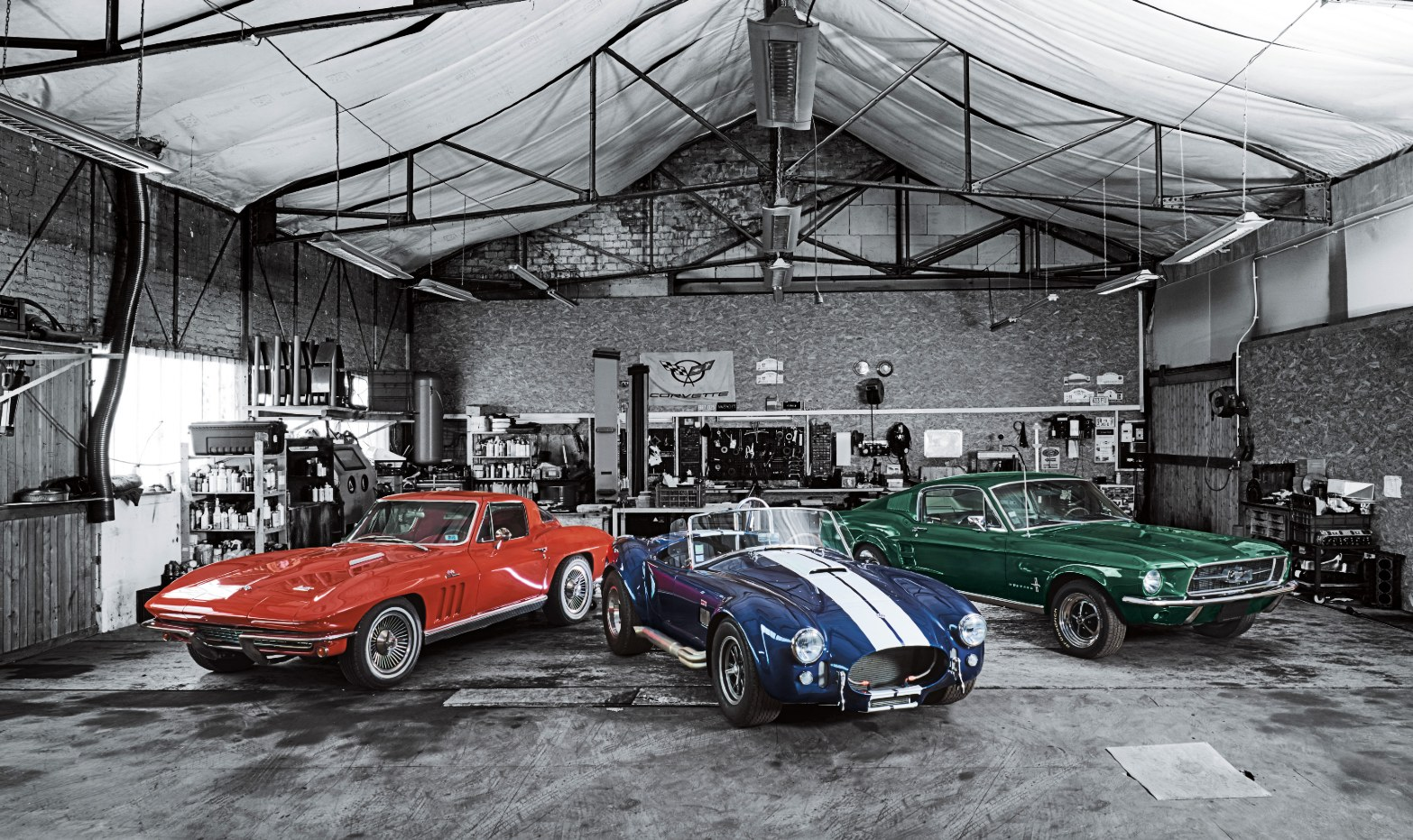 28 three icons of the american car culture chevrolet corvette shelby cobra ford mustang from left to right rgb