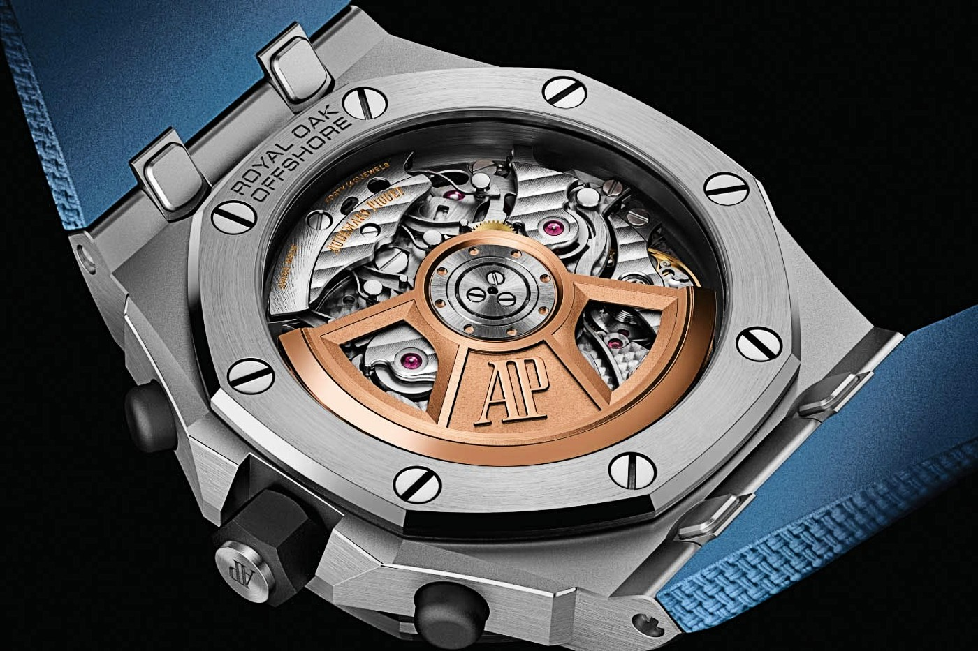6 The back of the steel Mega Tapisserie Royal Oak Offshore with cal. 4404 1