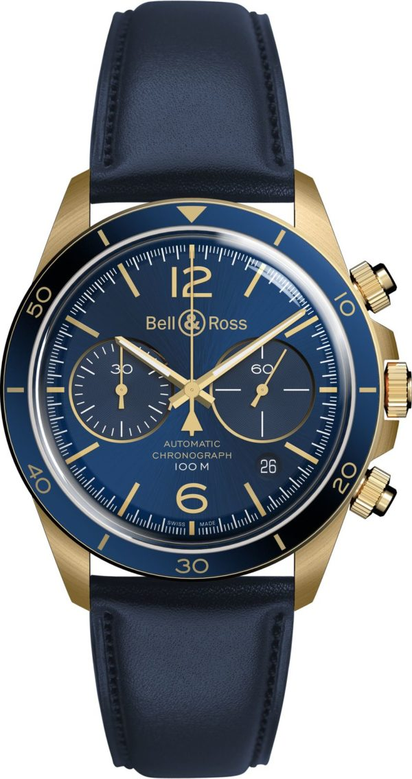 BRV2 94 Bronze Blue Leather strap.png 1600px