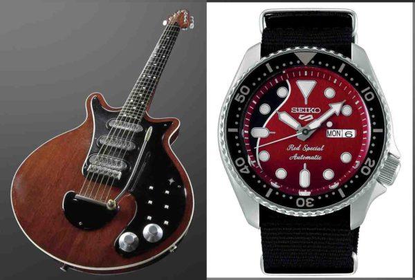 Brian May Red Special gitara i sat Seiko 5 Sports SRPE83K1