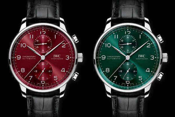 IWC Portugieser Chronograph automatic green burgundy dial iw371615 iw371616 1