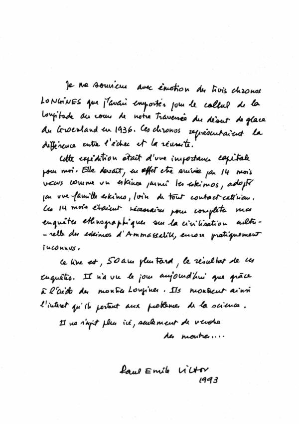 Letter from Paul Emile Victor to Longines longines spirit collection 2020 1 min