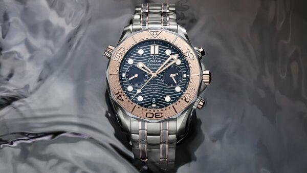 Omega Seamaster Diver 300M Chronograph Gold Titanium Tantalum 1 min