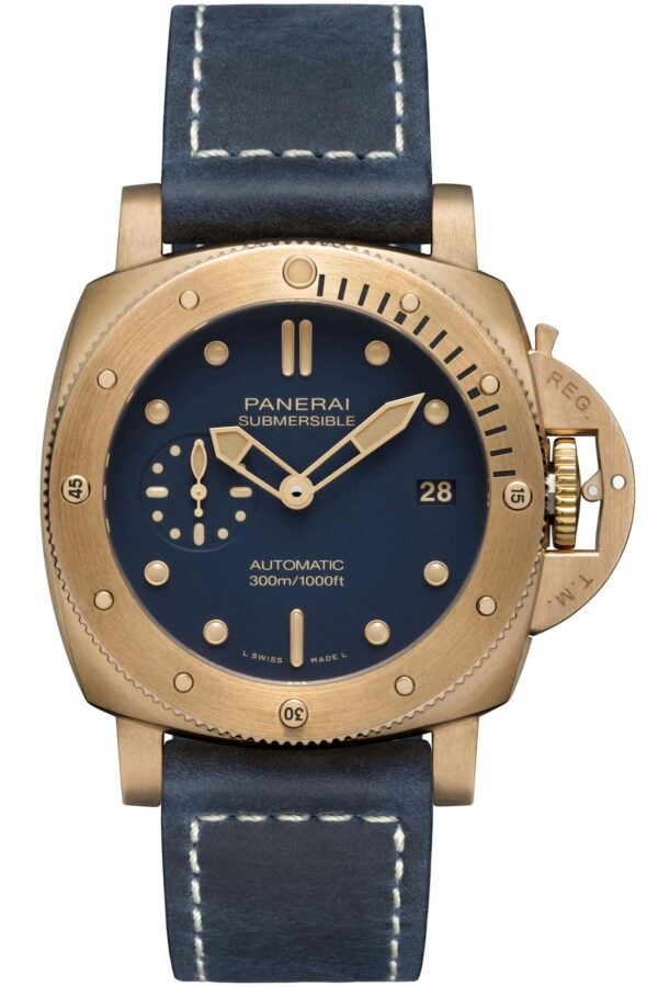 0fficine Panerai Submersible Bronzo Blu Abisso PAM01074 sprijeda