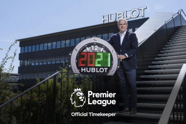 Ricardo Guadalupe Hublot CEO presenting the the 2020 2021 season Premier League 4th Referee Board min