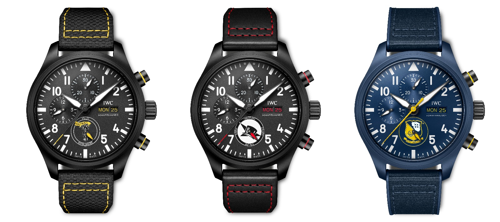 """The Pilot's Watches Chronograph Editions """"Royal Maces"""", """"Tophatters"""", and """"Blue Angels"""" all feature the respective squadron patch on the dial and eye-catching details in the corresponding unit's colour scheme"""