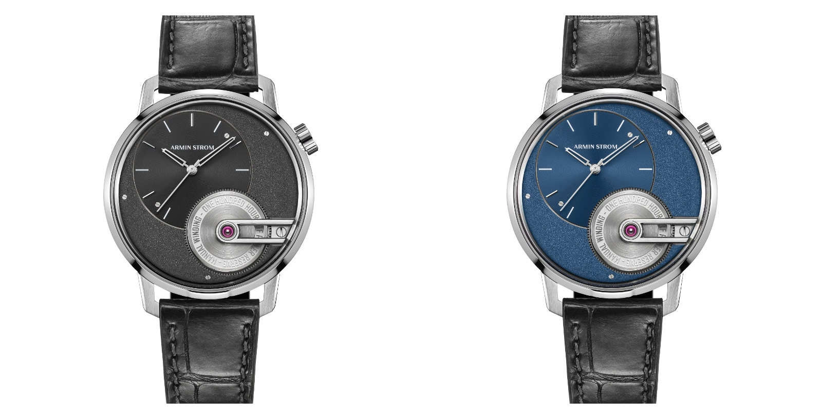 The two references – one with a black dial and one with a blue dial – are available in limited editions of 100 each.