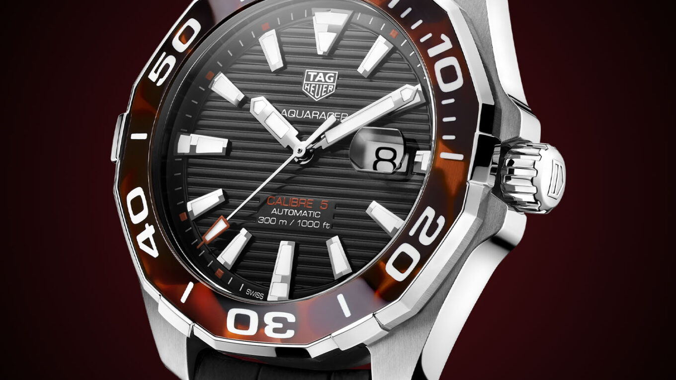 TAG Heuer Aquaracer 43mm Calibre 5 Automatic Tortoise Shell Effect Brown WAY201N.FT6177 1