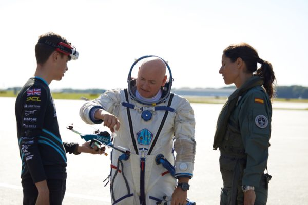 breitling aviation pioneers squad luke bannister scott kelly and rocio gonzalez torres from left to right