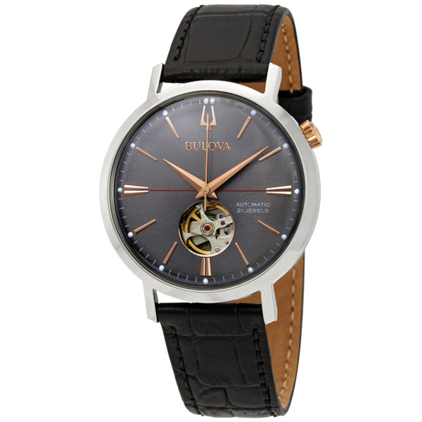 bulova classic automatic grey dial black leather men s watch 98a187