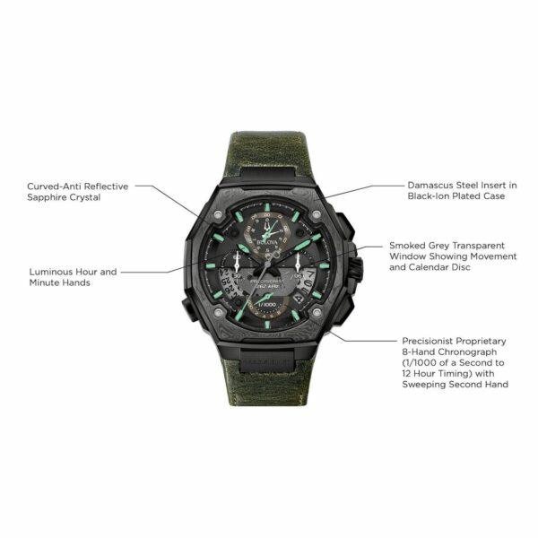 men s bulova precisionist x special edition chronograph green leather strap watch 98b355 4 20106787 hx5248a03b