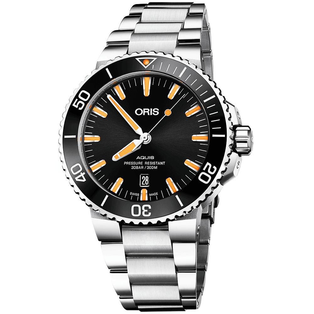 oris aquis 43 5mm black orange dial mens automatic bracelet watch p17979 31069 image
