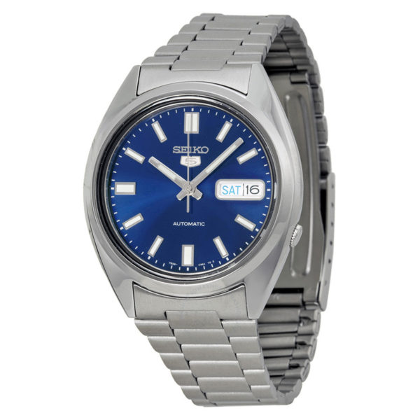 seiko 5 blue dial automatic mens watch snxs77
